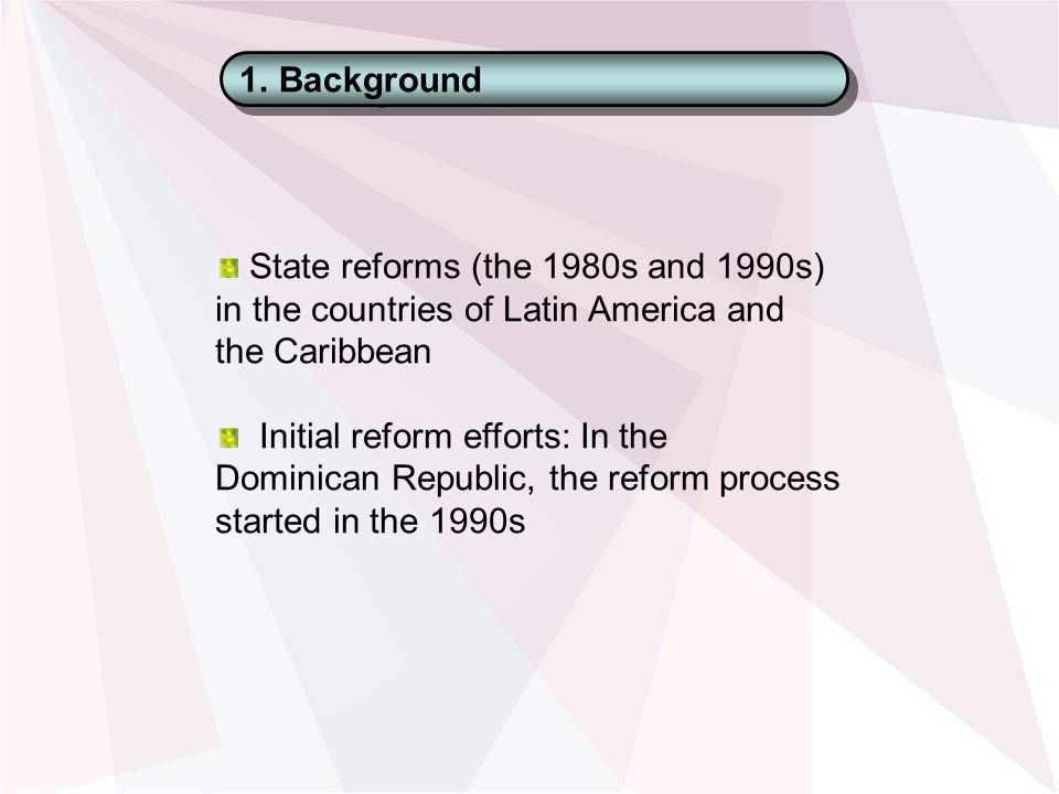 1.Background State reforms (the 1980s and 1990s) in the countries of Latin America and the Caribbean Initial reform efforts: In the Dominican Republic, the reform process started in the 1990s