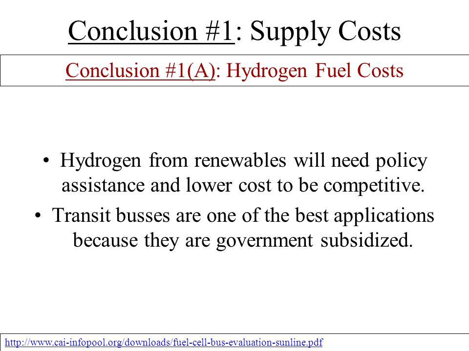 Hydrogen Fuel Cell Bus Fleets POLICY DESCRIPTION #1 The use