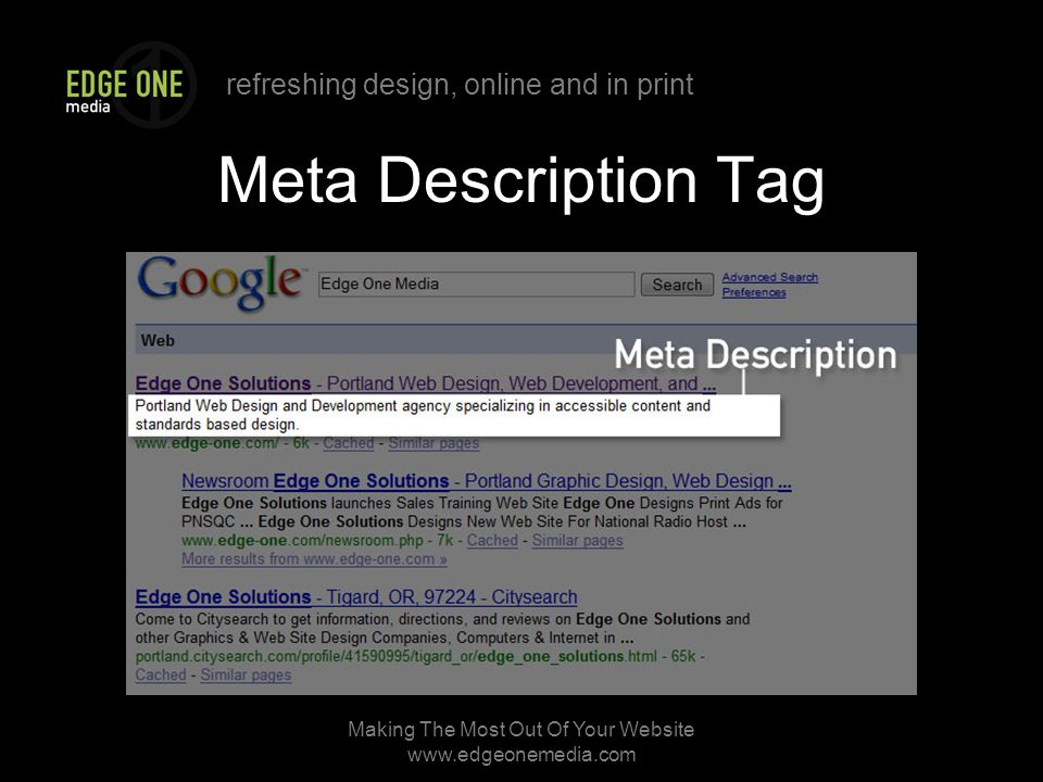refreshing design, online and in print Making The Most Out Of Your Website   Meta Description Tag