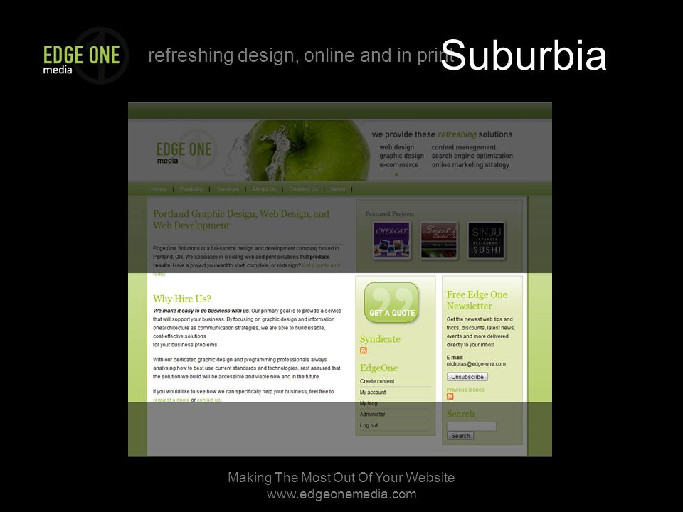refreshing design, online and in print Making The Most Out Of Your Website   Suburbia