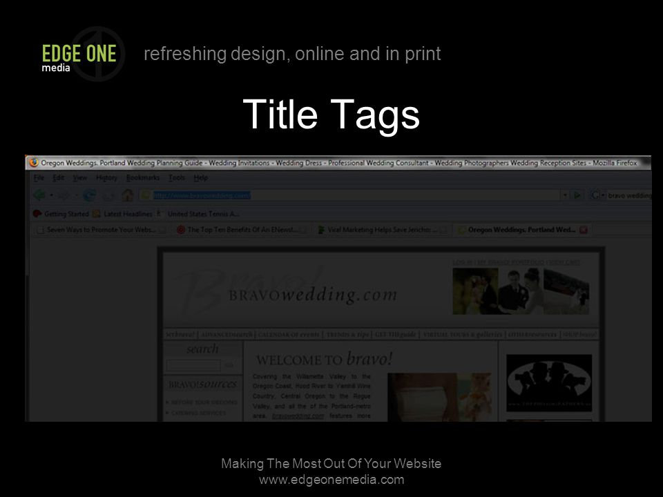 refreshing design, online and in print Making The Most Out Of Your Website   Title Tags