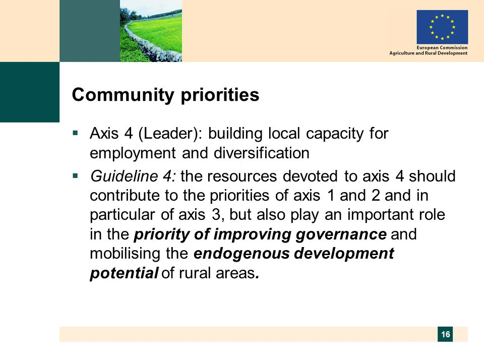 16 Community priorities  Axis 4 (Leader): building local capacity for employment and diversification  Guideline 4: the resources devoted to axis 4 should contribute to the priorities of axis 1 and 2 and in particular of axis 3, but also play an important role in the priority of improving governance and mobilising the endogenous development potential of rural areas.