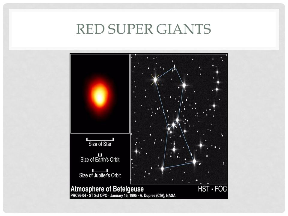RED SUPER GIANTS If the mass of a star is 3 times sun or greater, the Red Giant will become a Red Supergiant.