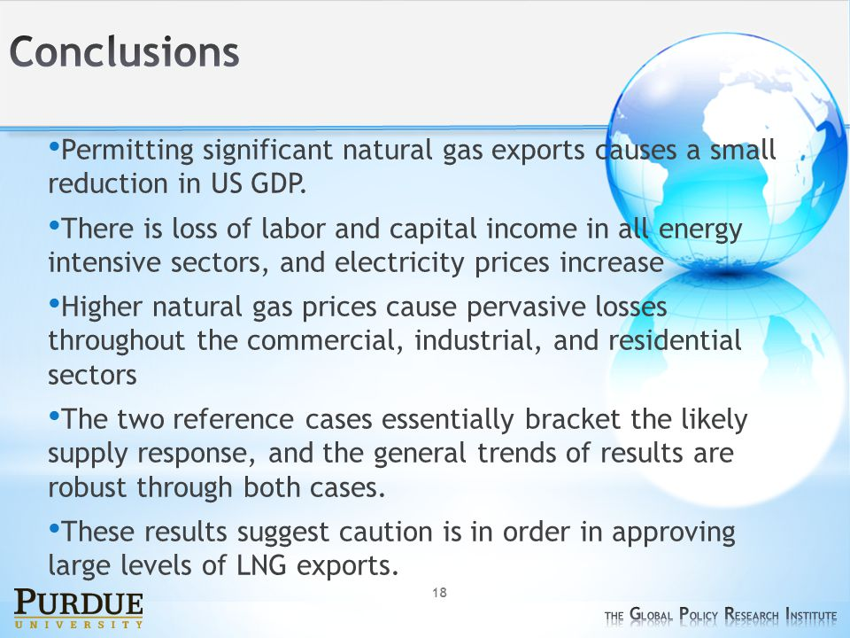 18 Permitting significant natural gas exports causes a small reduction in US GDP.