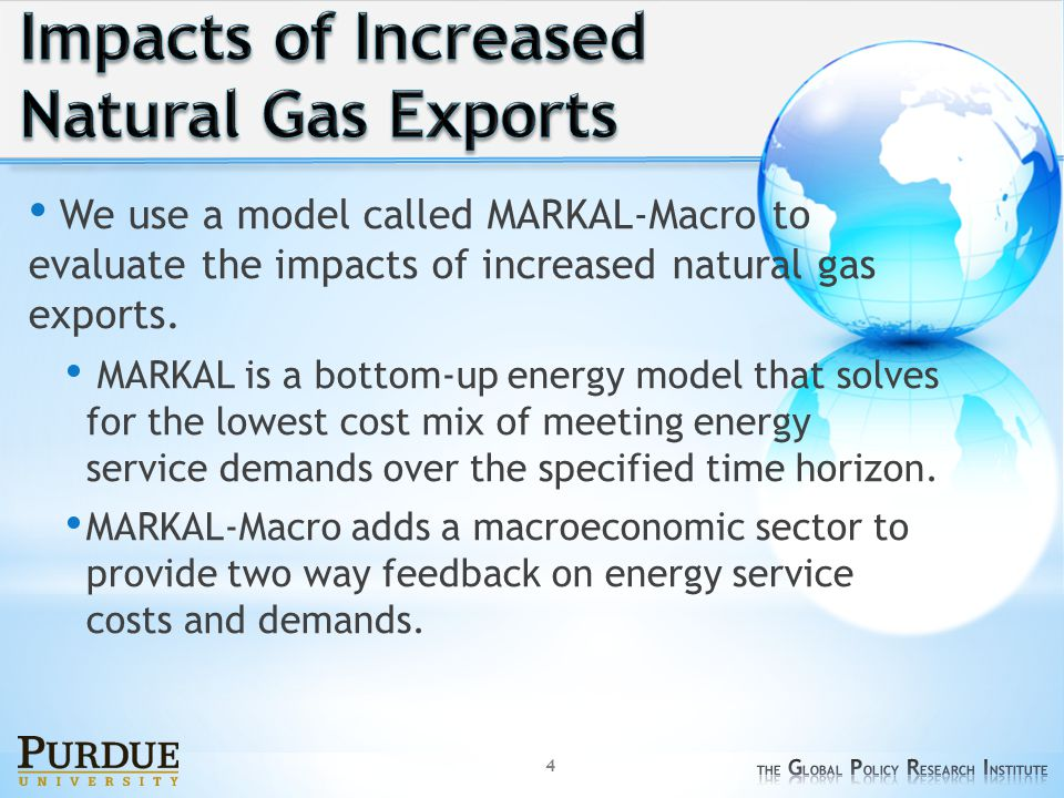 We use a model called MARKAL-Macro to evaluate the impacts of increased natural gas exports.