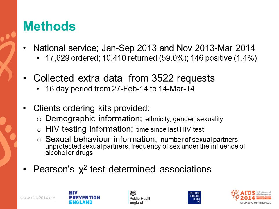 Methods National service; Jan-Sep 2013 and Nov 2013-Mar ,629 ordered; 10,410 returned (59.0%); 146 positive (1.4%) Collected extra data from 3522 requests 16 day period from 27-Feb-14 to 14-Mar-14 Clients ordering kits provided: o Demographic information; ethnicity, gender, sexuality o HIV testing information; time since last HIV test o Sexual behaviour information; number of sexual partners, unprotected sexual partners, frequency of sex under the influence of alcohol or drugs Pearson s χ 2 test determined associations