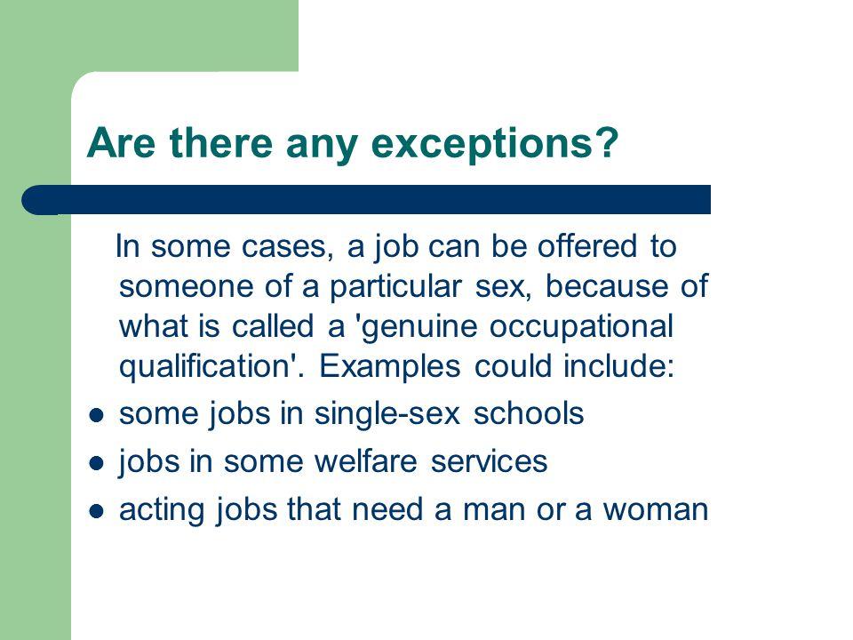 Sex discrimination act cases