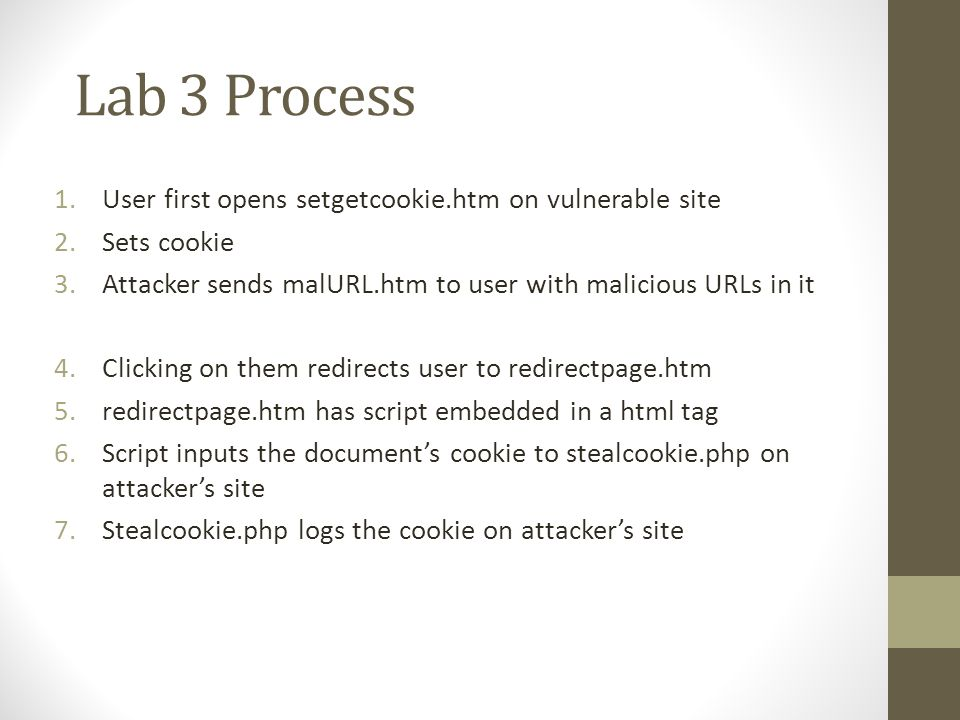 Lab 3 Process 1.User first opens setgetcookie.htm on vulnerable site 2.Sets cookie 3.Attacker sends malURL.htm to user with malicious URLs in it 4.Clicking on them redirects user to redirectpage.htm 5.redirectpage.htm has script embedded in a html tag 6.Script inputs the document's cookie to stealcookie.php on attacker's site 7.Stealcookie.php logs the cookie on attacker's site