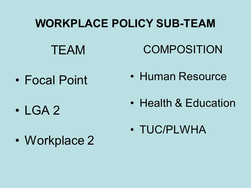 WORKPLACE POLICY SUB-TEAM TEAM Focal Point LGA 2 Workplace 2 COMPOSITION Human Resource Health & Education TUC/PLWHA