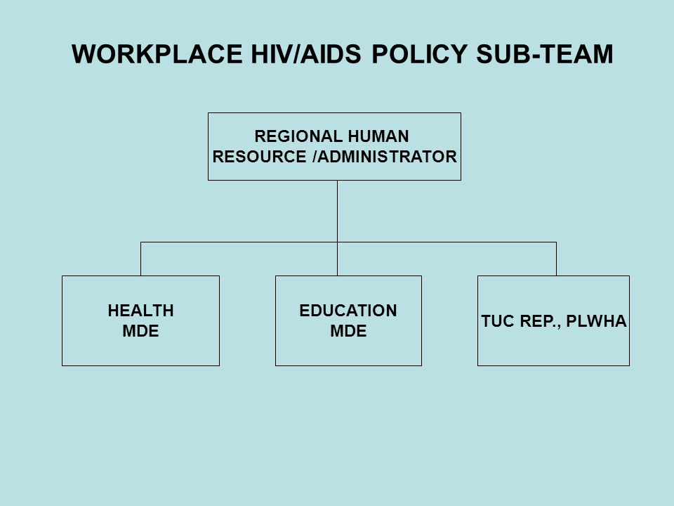 WORKPLACE HIV/AIDS POLICY SUB-TEAM REGIONAL HUMAN RESOURCE /ADMINISTRATOR EDUCATION MDE HEALTH MDE TUC REP., PLWHA