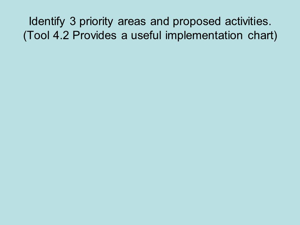 Identify 3 priority areas and proposed activities.