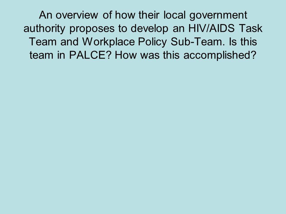 An overview of how their local government authority proposes to develop an HIV/AIDS Task Team and Workplace Policy Sub-Team.