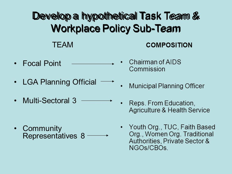 Develop a hypothetical Task Team & Workplace Policy Sub-Team TEAM Focal Point LGA Planning Official Multi-Sectoral 3 Community Representatives 8 COMPOSITION Chairman of AIDS Commission Municipal Planning Officer Reps.
