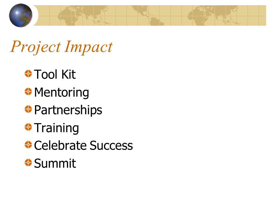 Project Impact Tool Kit Mentoring Partnerships Training Celebrate Success Summit
