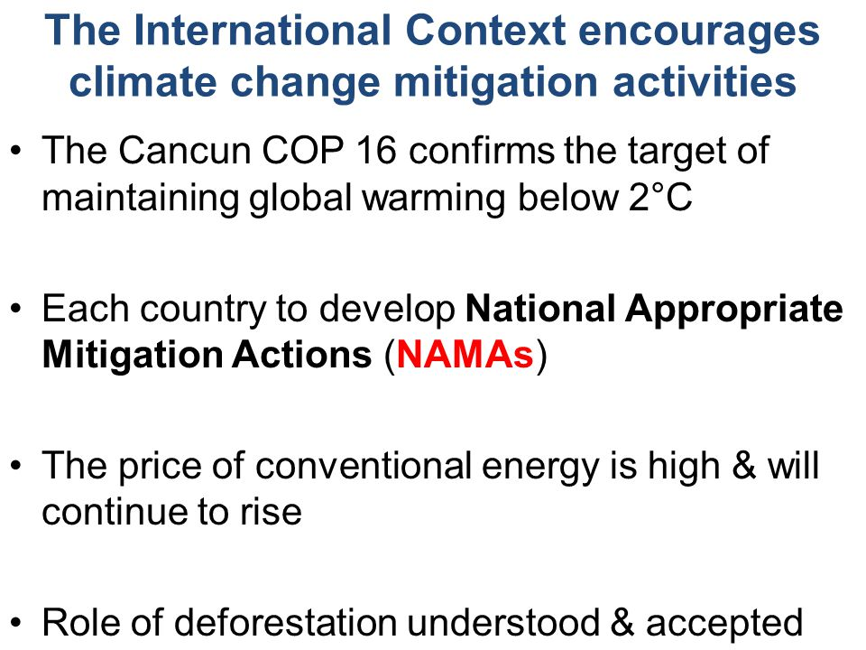 The International Context encourages climate change mitigation activities The Cancun COP 16 confirms the target of maintaining global warming below 2°C Each country to develop National Appropriate Mitigation Actions (NAMAs) The price of conventional energy is high & will continue to rise Role of deforestation understood & accepted