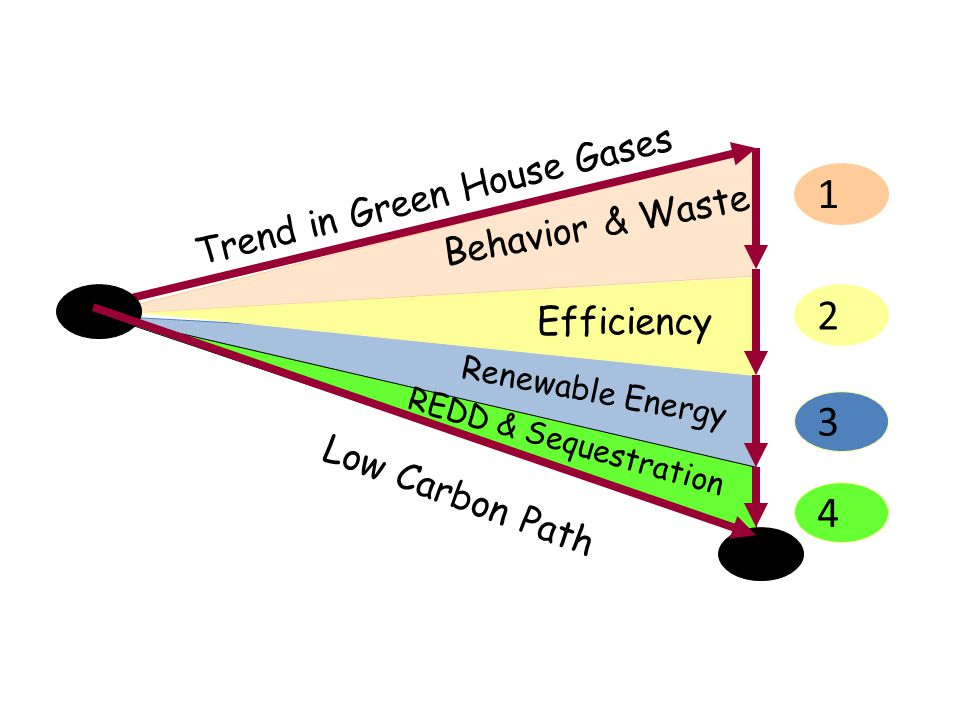 Trend in Green House Gases Low Carbon Path Behavior & Waste Efficiency Renewable Energy REDD & Sequestration