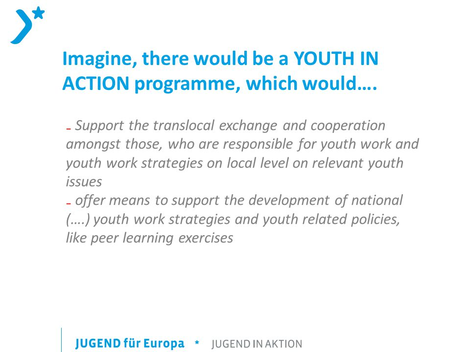 Imagine, there would be a YOUTH IN ACTION programme, which would….
