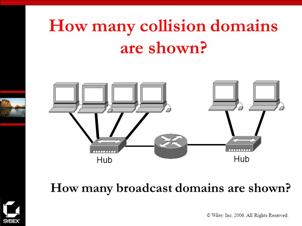 © Wiley Inc All Rights Reserved. How many collision domains are shown.
