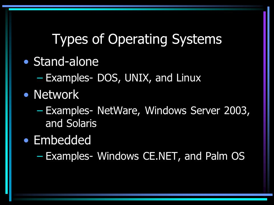 Types of Operating Systems Stand-alone –Examples- DOS, UNIX, and Linux Network –Examples- NetWare, Windows Server 2003, and Solaris Embedded –Examples- Windows CE.NET, and Palm OS