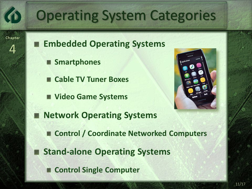 Chapter4 11/17 Operating System Categories Embedded Operating Systems Smartphones Cable TV Tuner Boxes Video Game Systems Network Operating Systems Control / Coordinate Networked Computers Stand-alone Operating Systems Control Single Computer 11