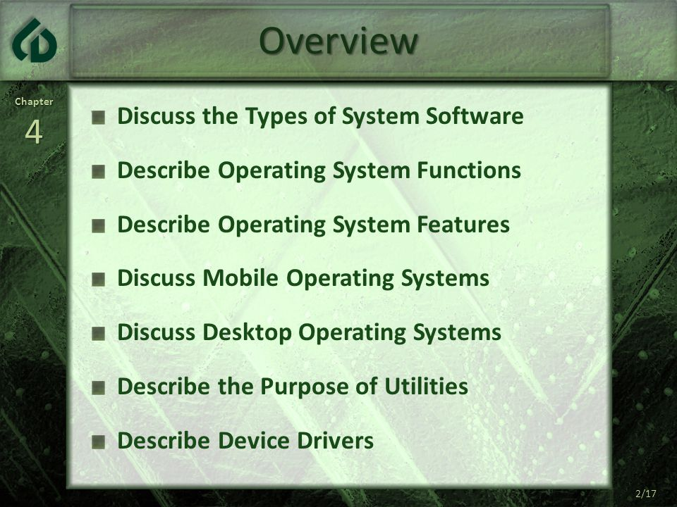 Chapter4 2/17 Overview Discuss the Types of System Software Describe Operating System Functions Describe Operating System Features Discuss Mobile Operating Systems Discuss Desktop Operating Systems Describe the Purpose of Utilities Describe Device Drivers 2