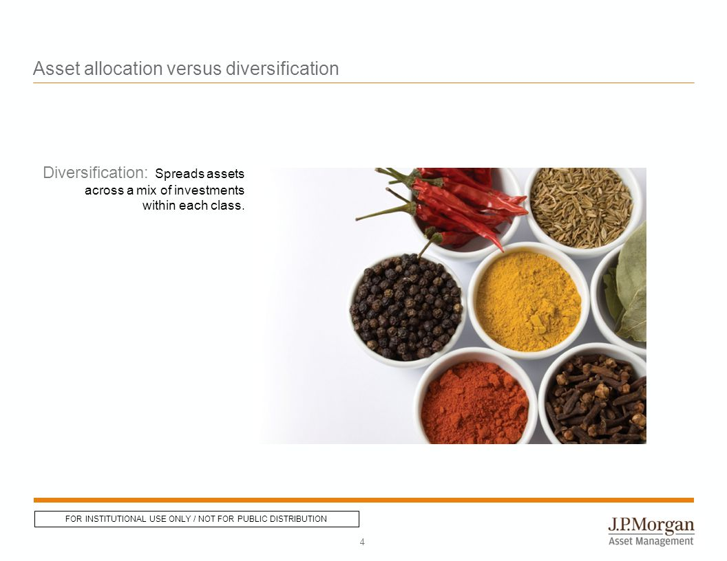 Asset allocation versus diversification Diversification: Spreads assets across a mix of investments within each class.