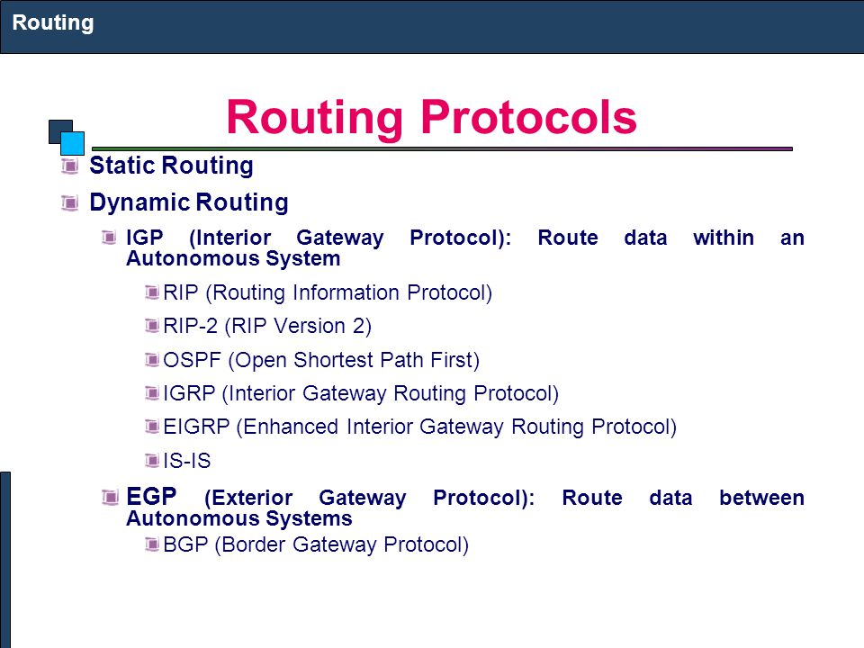 Routing Protocols Static Routing Dynamic Routing IGP (Interior Gateway Protocol): Route data within an Autonomous System RIP (Routing Information Protocol) RIP-2 (RIP Version 2) OSPF (Open Shortest Path First) IGRP (Interior Gateway Routing Protocol) EIGRP (Enhanced Interior Gateway Routing Protocol) IS-IS EGP (Exterior Gateway Protocol): Route data between Autonomous Systems BGP (Border Gateway Protocol) Routing