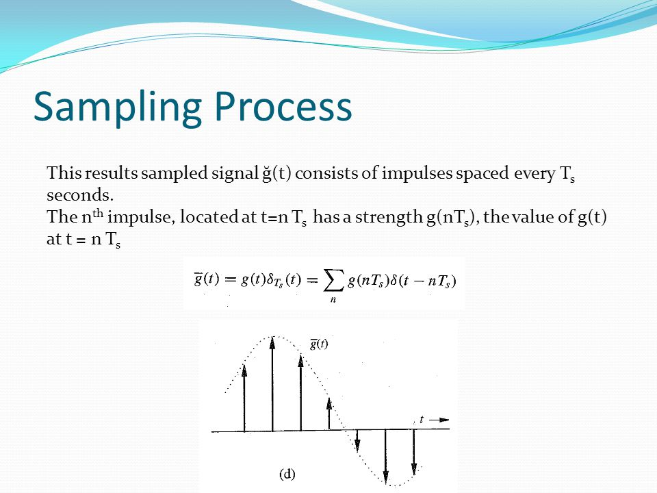 Sampling Process This results sampled signal ğ(t) consists of impulses spaced every T s seconds.