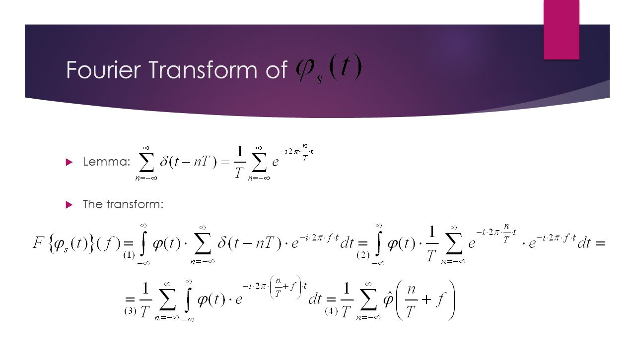 Fourier Transform of  Lemma:  The transform:
