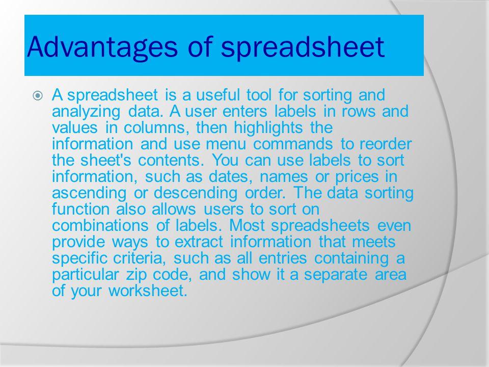 Spreadsheet in excel o Spreadsheet in excel o Uses of spreadsheet o ...