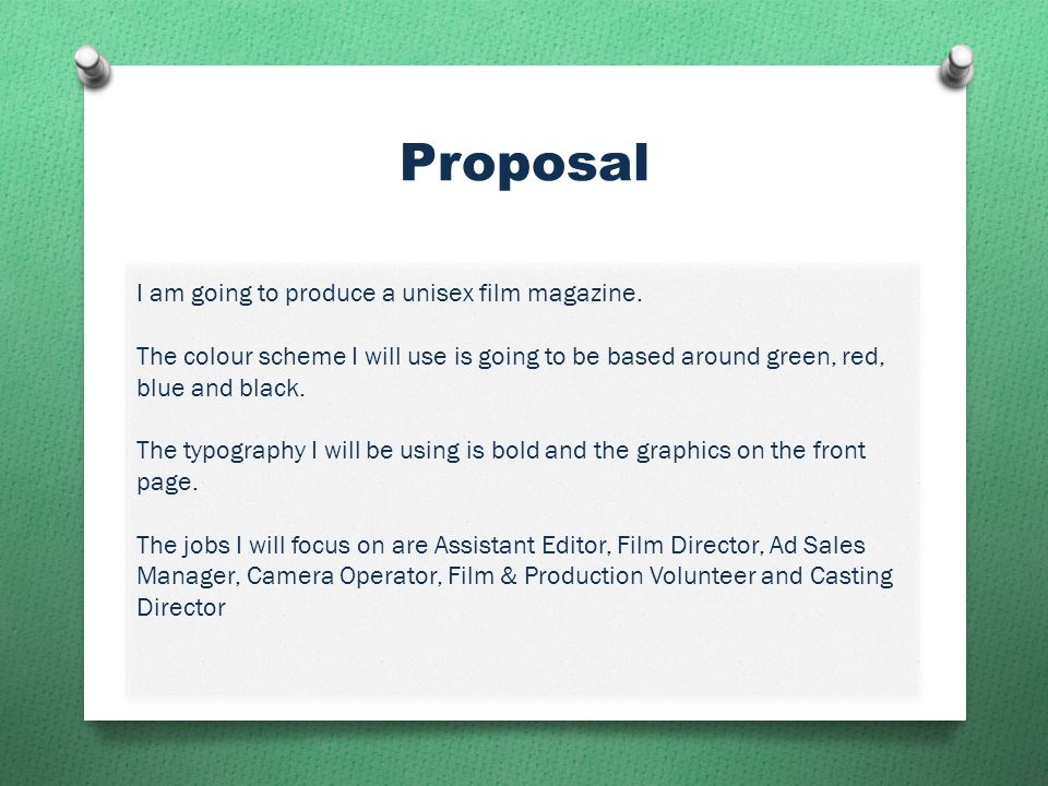Proposal I am going to produce a unisex film magazine.