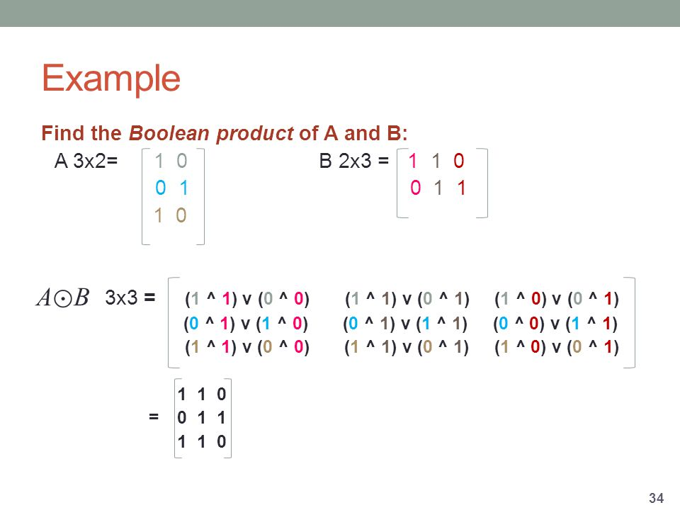 Example Find the Boolean product of A and B: A 3x2= 1 0 B 2x3 = x3 = (1 ^ 1) v (0 ^ 0) (1 ^ 1) v (0 ^ 1) (1 ^ 0) v (0 ^ 1) (0 ^ 1) v (1 ^ 0) (0 ^ 1) v (1 ^ 1) (0 ^ 0) v (1 ^ 1) (1 ^ 1) v (0 ^ 0) (1 ^ 1) v (0 ^ 1) (1 ^ 0) v (0 ^ 1) = A⊙BA⊙B
