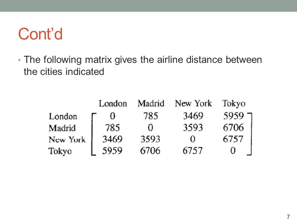 Cont'd The following matrix gives the airline distance between the cities indicated 7