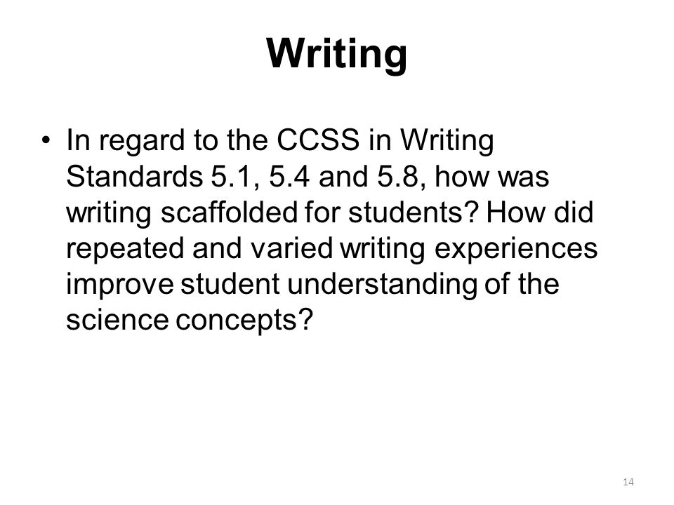 Writing In regard to the CCSS in Writing Standards 5.1, 5.4 and 5.8, how was writing scaffolded for students.