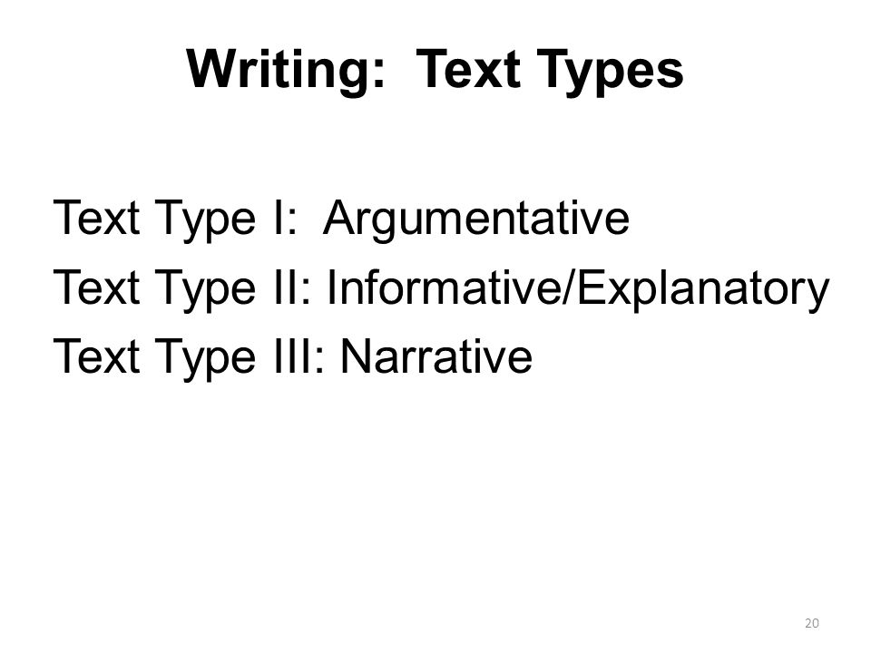 Writing: Text Types Text Type I: Argumentative Text Type II: Informative/Explanatory Text Type III: Narrative 20