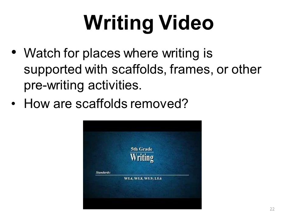 Writing Video Watch for places where writing is supported with scaffolds, frames, or other pre-writing activities.