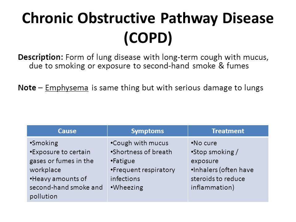Chronic Obstructive Pathway Disease (COPD) Description: Form of lung disease with long-term cough with mucus, due to smoking or exposure to second-hand smoke & fumes Note – Emphysema is same thing but with serious damage to lungs CauseSymptomsTreatment Smoking Exposure to certain gases or fumes in the workplace Heavy amounts of second-hand smoke and pollution Cough with mucus Shortness of breath Fatigue Frequent respiratory infections Wheezing No cure Stop smoking / exposure Inhalers (often have steroids to reduce inflammation)
