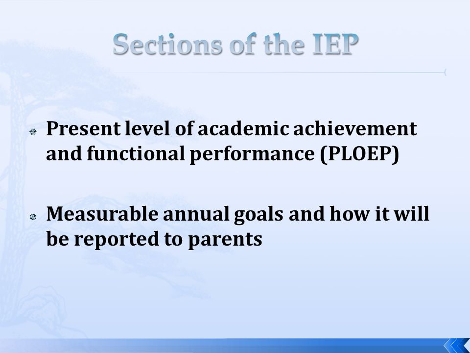  Present level of academic achievement and functional performance (PLOEP)  Measurable annual goals and how it will be reported to parents