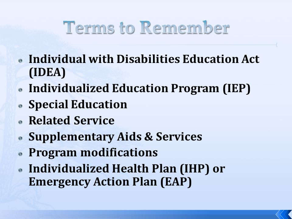  Individual with Disabilities Education Act (IDEA)  Individualized Education Program (IEP)  Special Education  Related Service  Supplementary Aids & Services  Program modifications  Individualized Health Plan (IHP) or Emergency Action Plan (EAP)
