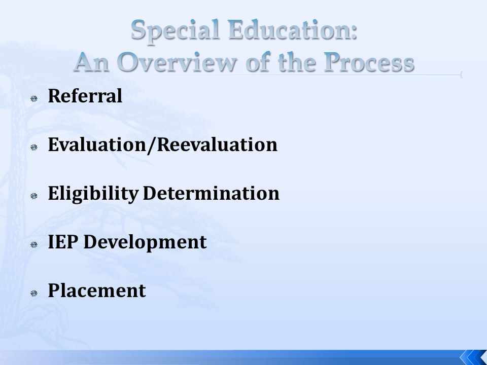  Referral  Evaluation/Reevaluation  Eligibility Determination  IEP Development  Placement