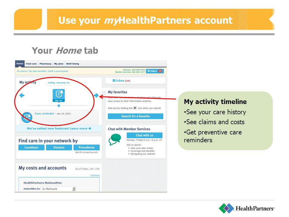 Use your myHealthPartners account Your Home tab My activity timeline See your care history See claims and costs Get preventive care reminders