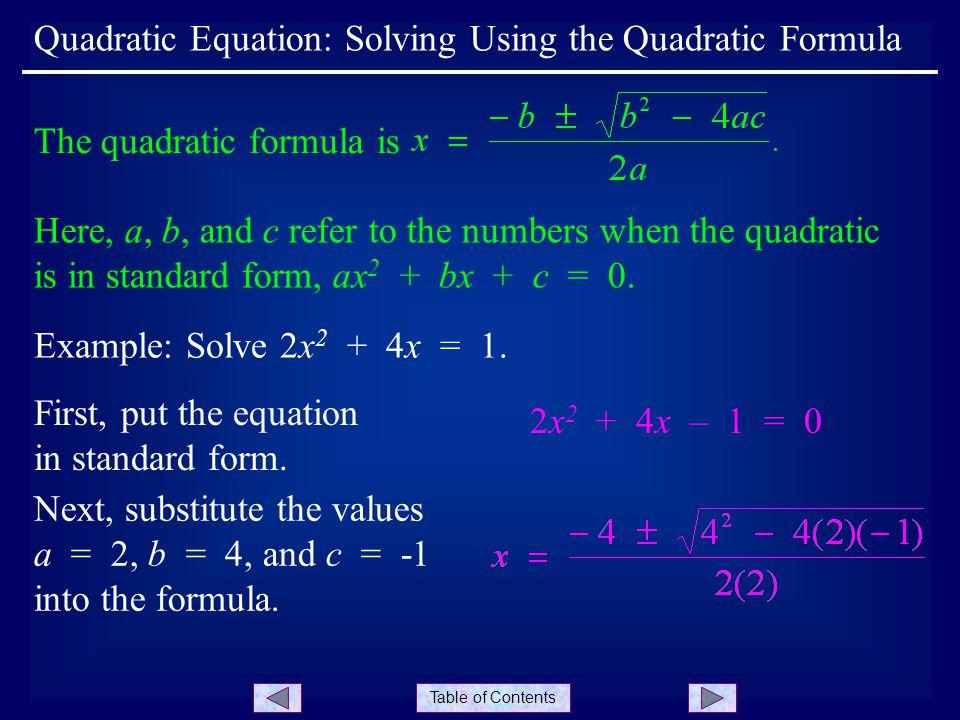 Table Of Contents Quadratic Equation Solving Using The Quadratic