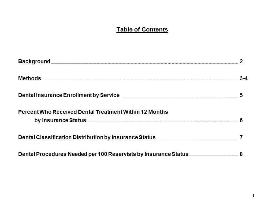 2 Table of Contents Background2 Methods3-4 Dental Insurance Enrollment by  Service5 Percent Who Received ...