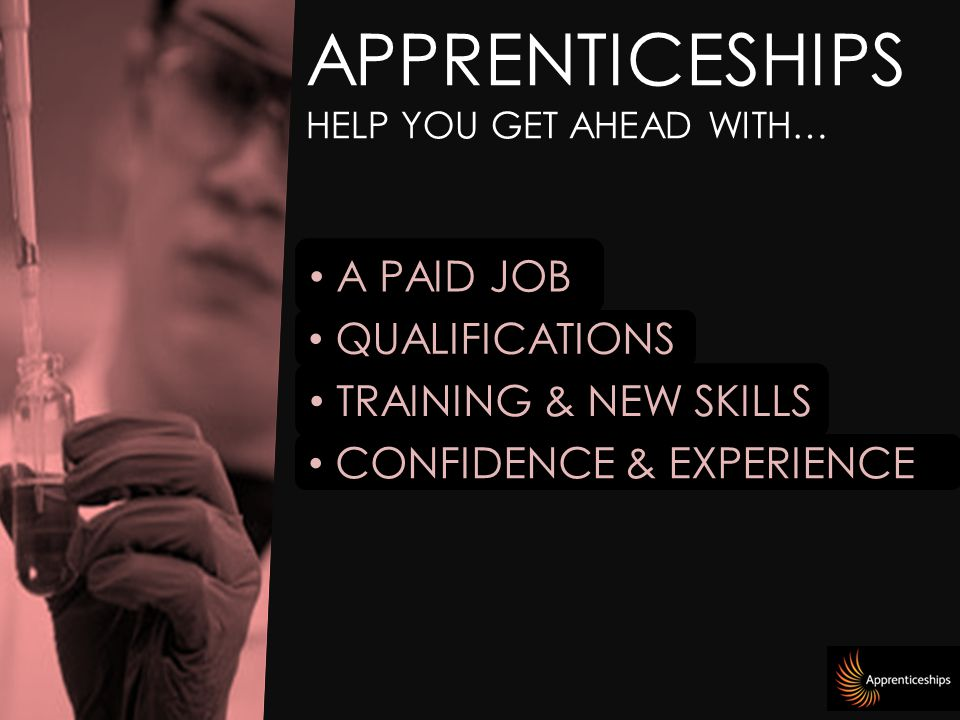 APPRENTICESHIPS HELP YOU GET AHEAD WITH… A PAID JOB TRAINING & NEW SKILLS CONFIDENCE & EXPERIENCE QUALIFICATIONS