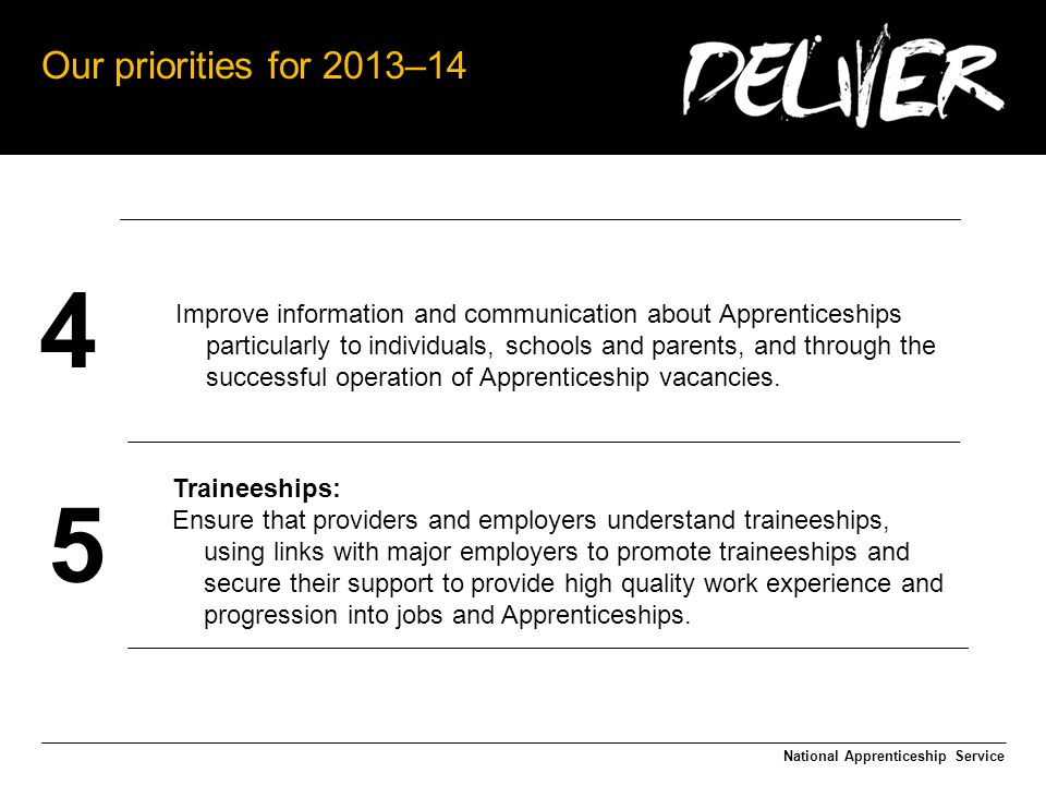 Our priorities for 2013–14 National Apprenticeship Service 4 5 Improve information and communication about Apprenticeships particularly to individuals, schools and parents, and through the successful operation of Apprenticeship vacancies.