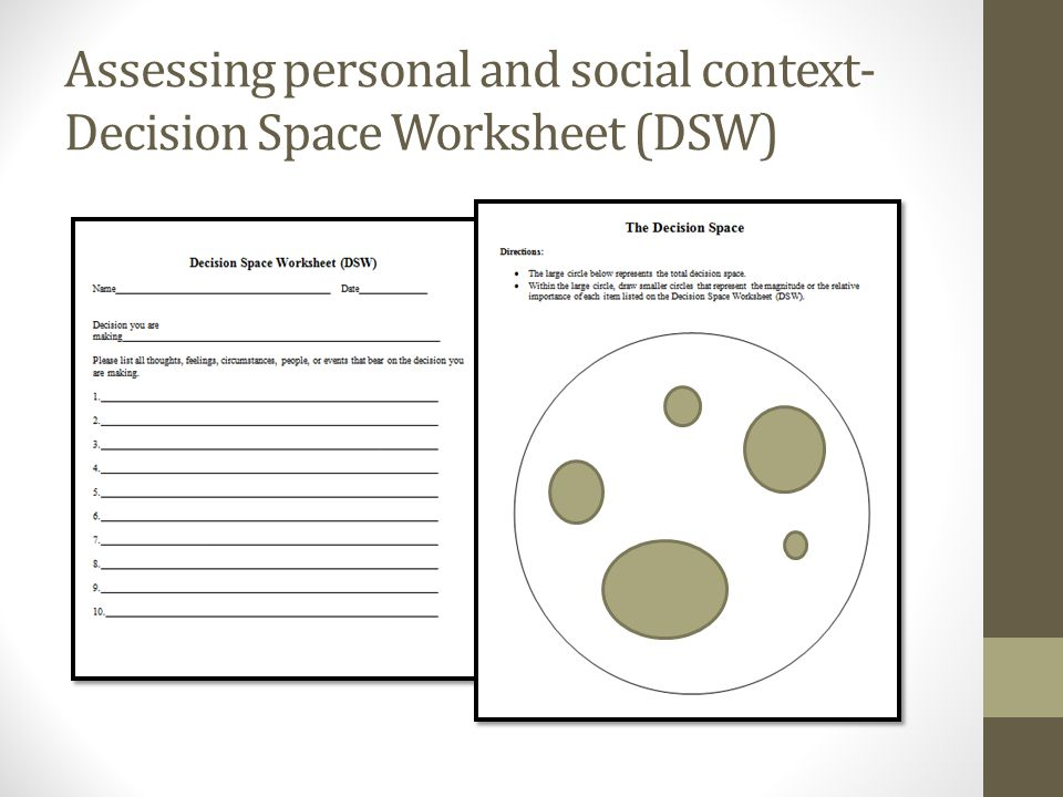 Assessing personal and social context- Decision Space Worksheet (DSW)