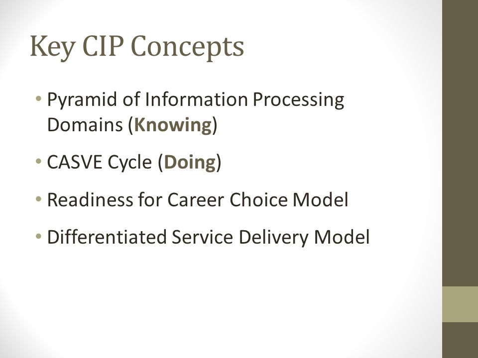 Key CIP Concepts Pyramid of Information Processing Domains (Knowing) CASVE Cycle (Doing) Readiness for Career Choice Model Differentiated Service Delivery Model