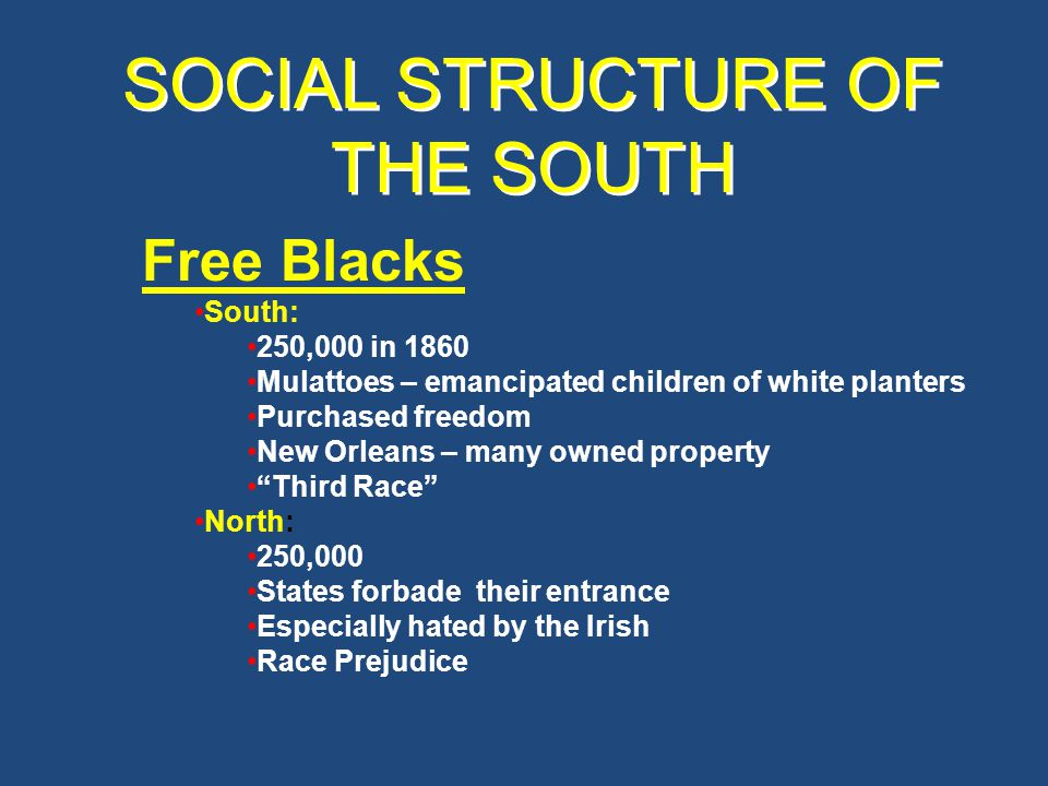 SOCIAL STRUCTURE OF THE SOUTH 3/4 of whites owned no slaves Lived isolated lives white trash , hillbillies, crackers , clay eaters Shiftless, listless, lazy – Actually sick – malnourished Biggest defenders of slave system – WHY.