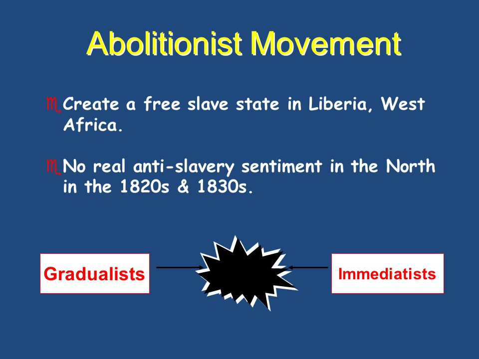 Abolitionist Movement 1816  American Colonization Society created (gradual, voluntary emancipation.