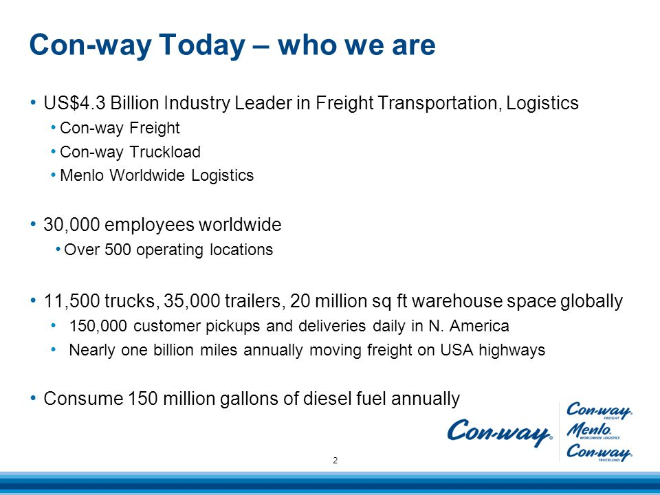 Con-way Today – who we are 2 US$4.3 Billion Industry Leader in Freight Transportation, Logistics Con-way Freight Con-way Truckload Menlo Worldwide Logistics 30,000 employees worldwide Over 500 operating locations 11,500 trucks, 35,000 trailers, 20 million sq ft warehouse space globally 150,000 customer pickups and deliveries daily in N.